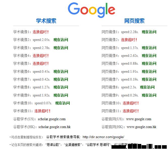 谷歌学术镜像入口